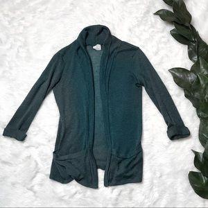 UO Pins & Needles Green Linen Style Cardigan